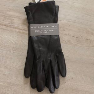 Charter Club Women's Cashmere Lined Leather Gloves
